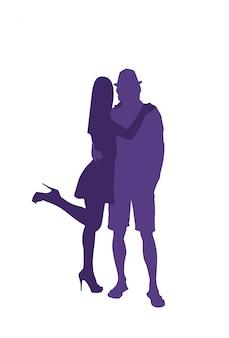 Silhouette homme et femme embrassant un couple amoureux câlin isolé