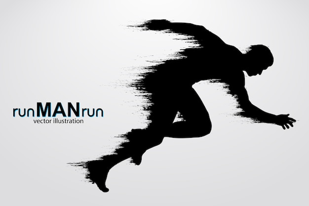 Silhouette d'un homme qui court. illustration