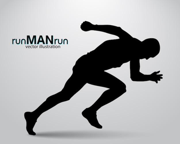 Silhouette d'un homme qui court