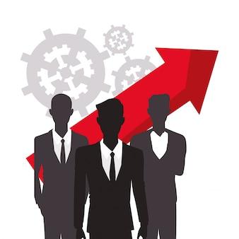 Silhouette hommes d'affaires croissance flèche finance
