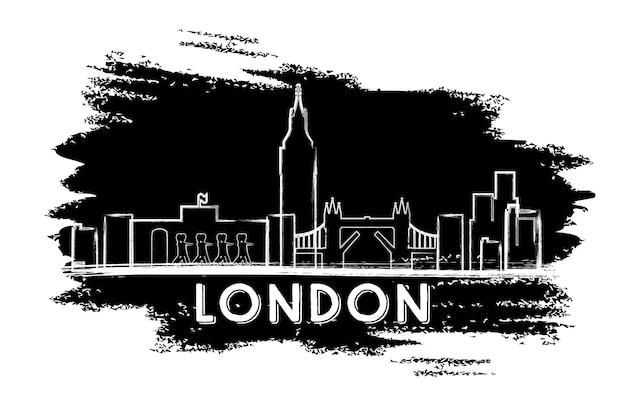 Silhouette d'horizon de londres. croquis dessiné à la main. illustration vectorielle. concept de voyage d'affaires et de tourisme avec architecture historique. image pour la bannière de présentation et le site web.