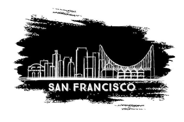 Silhouette d'horizon de san francisco. croquis dessiné à la main. illustration vectorielle. concept de voyage d'affaires et de tourisme à l'architecture moderne. image pour la bannière de présentation et le site web.
