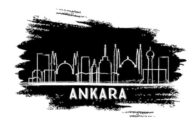 Silhouette d'horizon de la ville d'ankara turquie. croquis dessiné à la main. illustration vectorielle. concept de voyage d'affaires et de tourisme avec architecture historique. paysage urbain d'ankara avec des points de repère.