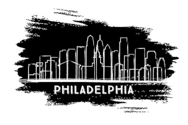 Silhouette d'horizon de la ville de philadelphie. croquis dessiné à la main. illustration vectorielle. concept de voyage d'affaires et de tourisme avec architecture historique. paysage urbain de philadelphie avec des points de repère.