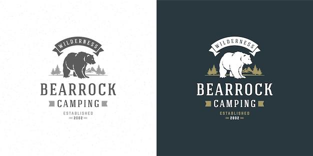 Silhouette d'illustration emblème logo ours