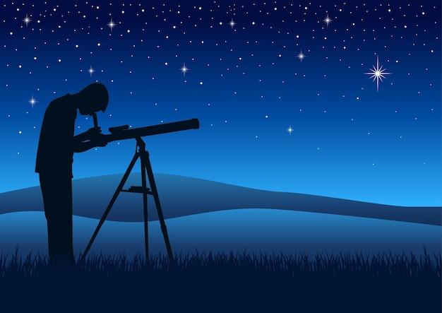 Silhouette illustration d'une personne regardant le ciel nocturne à travers un télescope