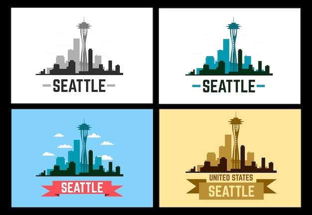 Silhouette et illustration de seattle