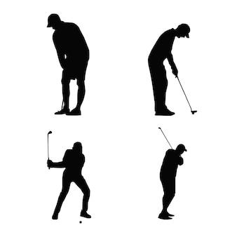 Silhouette d'une illustration vectorielle de joueur de golf