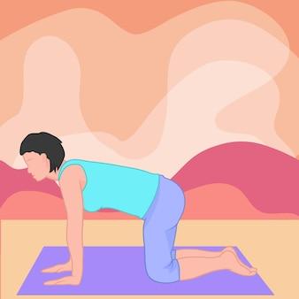 Silhouette d'une jeune fille faisant des asanas de pose de yoga