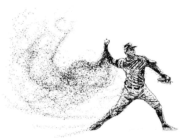 Silhouette d'un joueur de baseball à partir de particules.