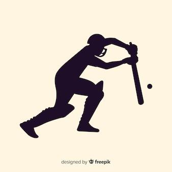 Silhouette de joueur de cricket