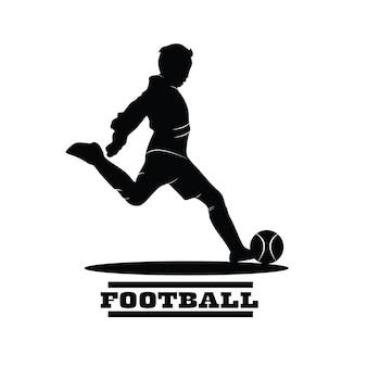 Silhouette de joueur de football. tir de joueur