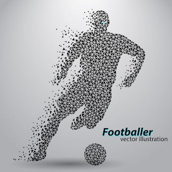 Silhouette d'un joueur de football de triangles