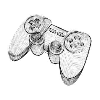 Silhouette de joystick composée de points noirs et de particules. filaire vectoriel 3d d'un contrôleur de manette de jeu avec une texture de grain. icône géométrique abstraite avec structure en pointillés isolé sur blanc