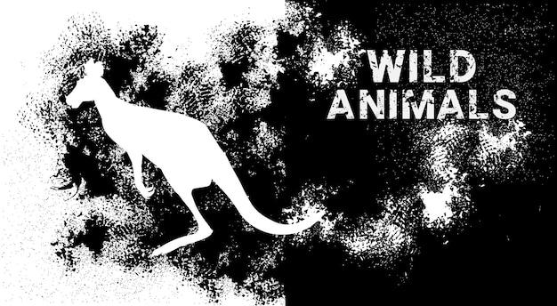 Silhouette kangourou en style animal grunge design