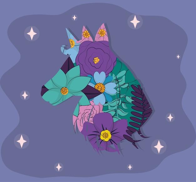 Silhouette de licorne mignon avec des dessins animés de fleurs vector illustration graphisme