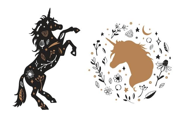 Silhouette de licorne et tête de licorne dans la fleur, motif rustique.