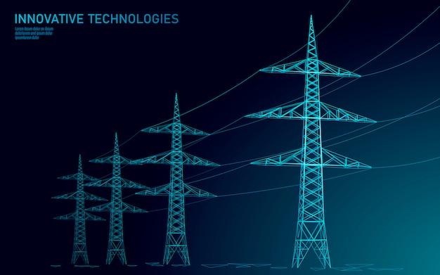 Silhouette de ligne électrique haute tension.