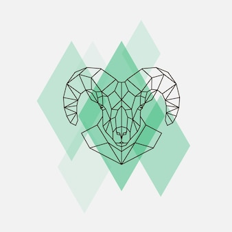 Silhouette de lignes géométriques tête de mouton de montagne isolée