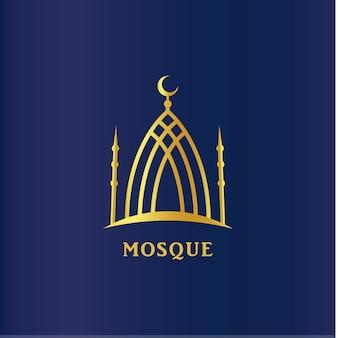 Silhouette linéaire de la mosquée islamique.