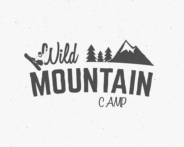 Silhouette de logo insigne vintage camp de montagne