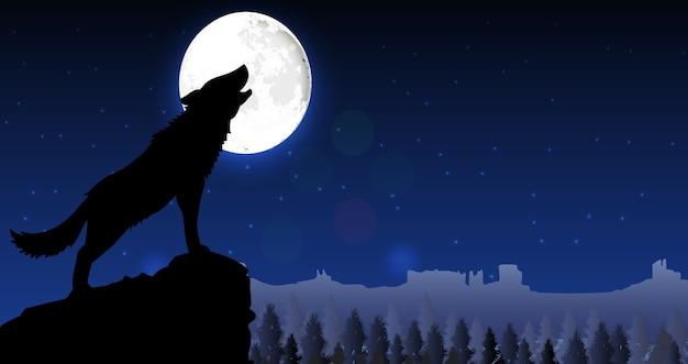 Silhouette d'un loup debout sur une colline