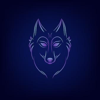 Silhouette de loup emblème du logo vintage loup visage