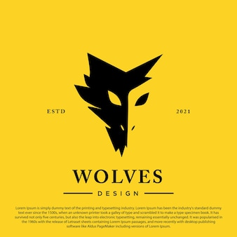 Silhouette de loup isolé sur illustration vectorielle fond jaune