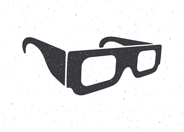 Silhouette de lunettes 3d en papier vue isométrique lunettes rétro stéréo vector illustration