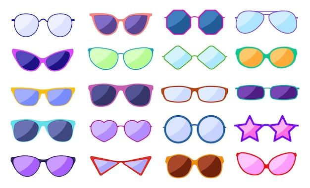 Silhouette de lunettes de soleil. lunettes de mode rétro, lunettes glamour. lunettes tendance avec reflet, lunettes de protection
