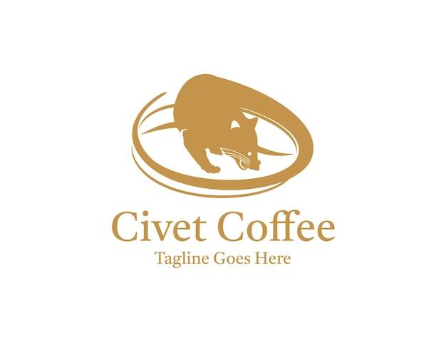 Silhouette d'un luwak ou d'une civette sur un morceau de grains de café pour le logo du café blanc luwak