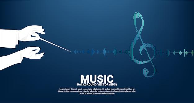 Silhouette de main de chef d'orchestre avec note clé sol onde sonore fond d'égaliseur de musique. fond pour concert événement et festival de musique