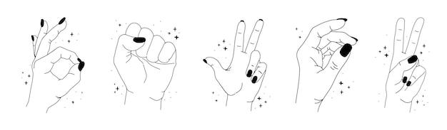 Silhouette de mains magiques féminines avec des étoiles