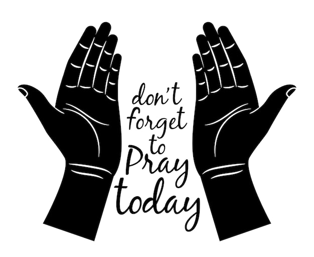 Silhouette de mains en prière isolée.