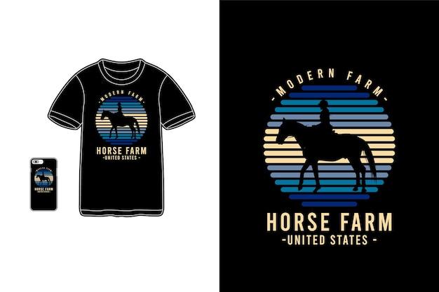 Silhouette de marchandise de t-shirt de ferme de cheval