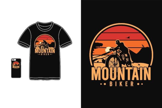 Silhouette de marchandise de t-shirt de vélo de montagne