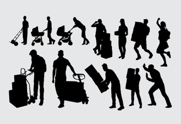 Silhouette masculine et féminine de travailleur