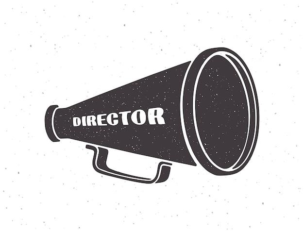 Silhouette de mégaphone rétro avec mot directeur vector illustration