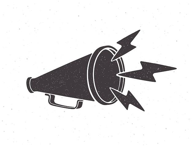 Silhouette de mégaphone rétro avec symbole d'éclairs de bruit illustration vectorielle