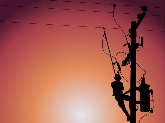 Silhouette de monteur de lignes électrique fermant un transformateur monophasé.
