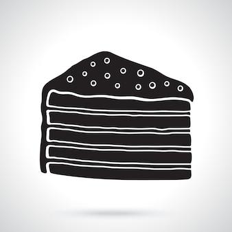 Silhouette d'un morceau de gâteau multicouche avec crème glacée et dragées au sucre illustration vectorielle