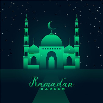 Silhouette de la mosquée avec des feux verts ramadan kareem