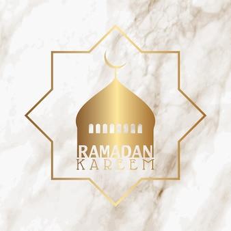 Silhouette de mosquée sur une texture de marbre pour le ramadan