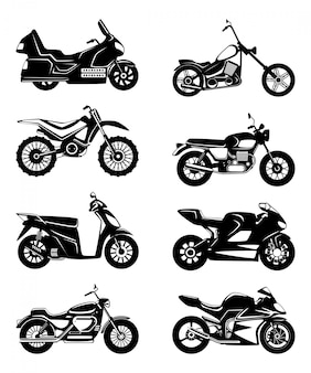 Silhouette de motos. set d'illustrations vectorielles monochromes
