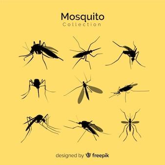 Silhouette de moustiques ensemble de neuf