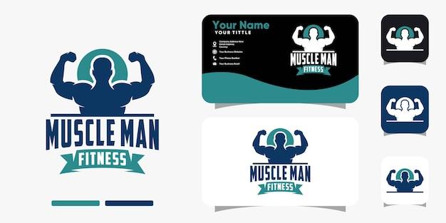 Silhouette muscle man logo et modèle de vecteur de conception de carte de visite