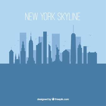 Silhouette new york skyline fond dans un style plat