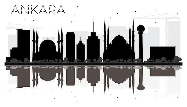 Silhouette noire et blanche d'horizon de ville d'ankara avec des réflexions. illustration vectorielle. paysage urbain avec monuments
