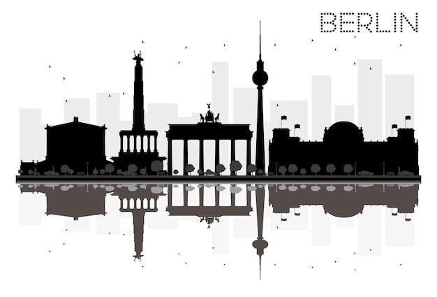 Silhouette noire et blanche d'horizon de ville de berlin avec des réflexions. illustration vectorielle. concept plat simple pour la présentation touristique, la bannière, la pancarte ou le site web. paysage urbain avec monuments célèbres
