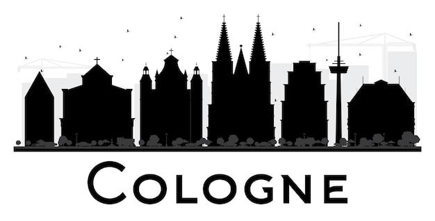 Silhouette noire et blanche d'horizon de ville de cologne. illustration vectorielle. concept plat simple pour la présentation touristique, la bannière, la pancarte ou le site web. paysage urbain avec monuments